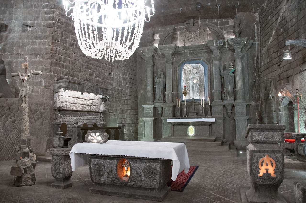 The altar at St. Kinga's Chapel in Wieliczka Salt Mine - Poland