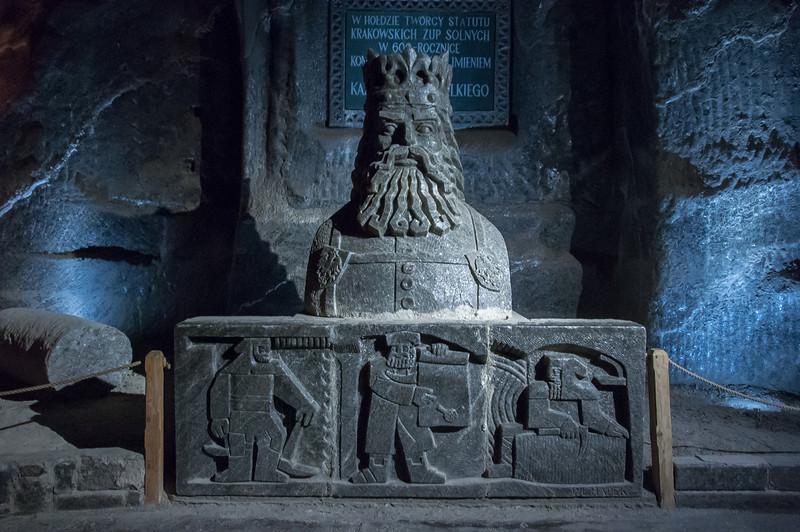 Carved salt statue of King Kazmierz in Wieliczka Salt Mine in Poland