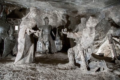 The Janowice Chamber depicts a legend of the first discovery of the salt mine