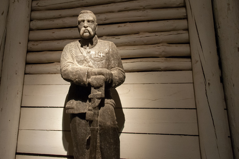 Salt statue of Jozef Pilsudski in Wielczka Salt Mine in Poland