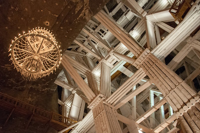 Rock salt chandelier in Wieliczka Salt Mine - Krakow, Poland