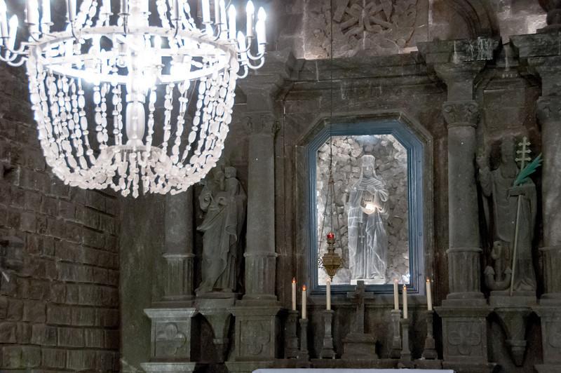 Details of the altar in St. Kinga's Chapel in Wieliczka Salt Mine, Poland