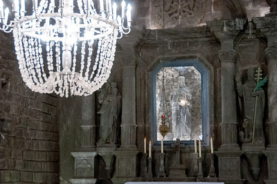 Details of the altar in St. Kinga's Chapel in Wieliczka Salt Mine, Poland
