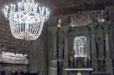 Chandelier at the altar of St. Kinga's Chapel in Wieliczka Salt Mine - Poland