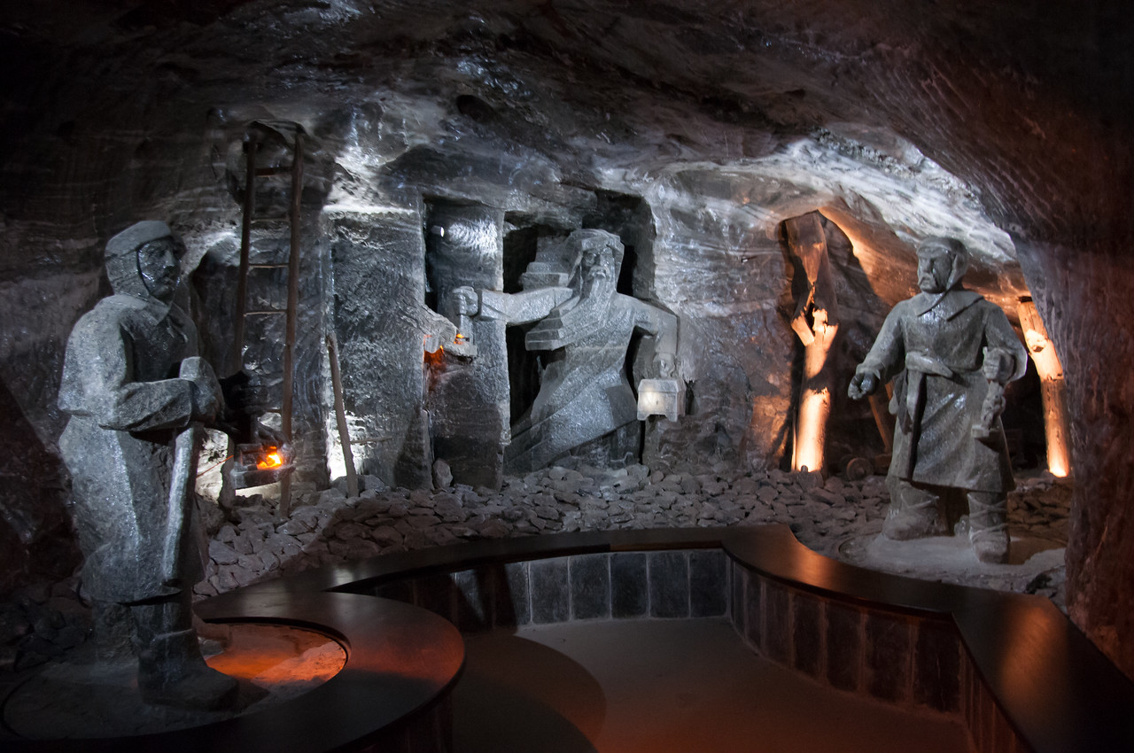 The Ghost of the Mines sculpture in Wieliczka Salt Mine in Poland