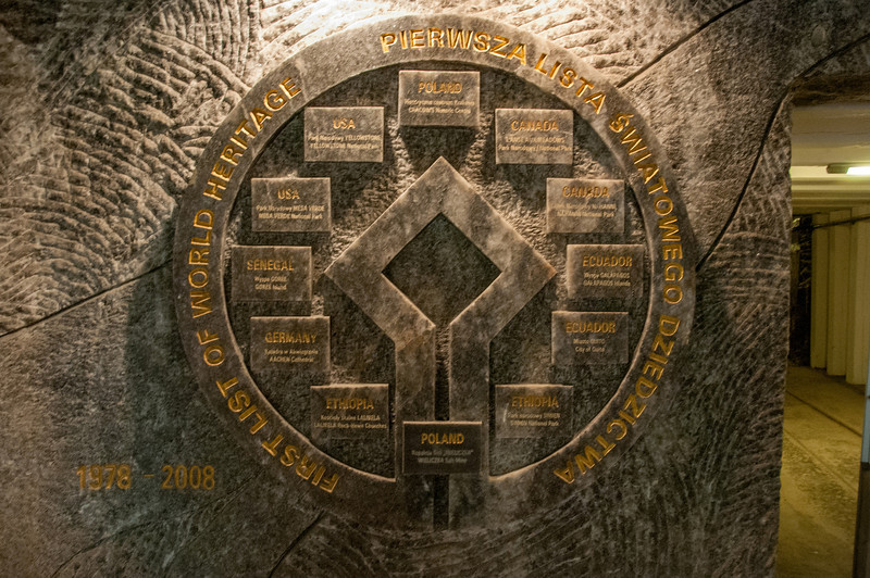 The UNESCO symbol carved out in salt in Wielczka Salt Mine - Poland