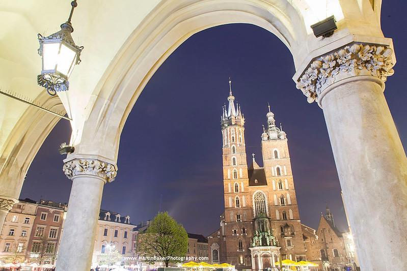 St. Mary's Basilica, Main Square (Rynek Główny), Kraków, Poland.