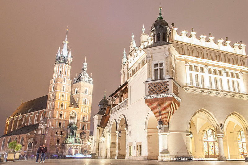 St. Mary's Basilica and Cloth Hall, Main Square, Kraków, Poland.