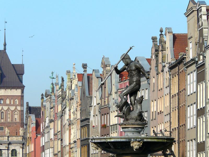 Neptune's fountain on Long Market Street in Gdansk, Poland