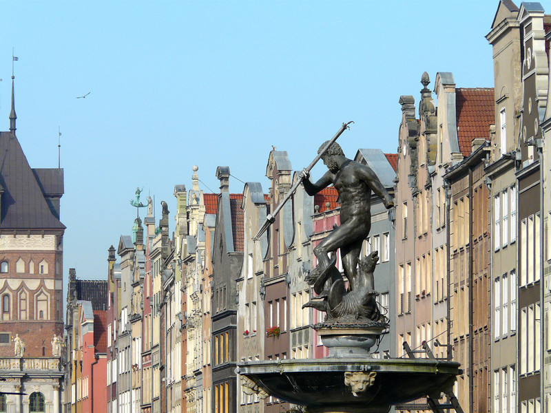 Neptune's fountain on Long Market Street in Gdansk, Poland