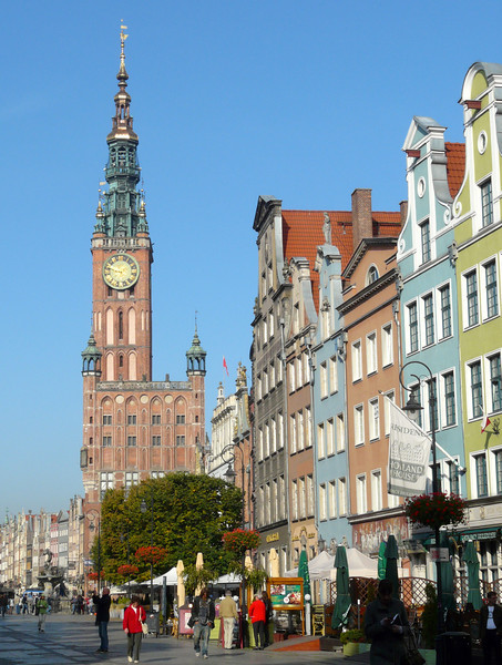 The clock tower of Town Hall rises above Old Town Gdansk, Poland.