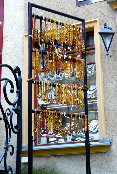 Amber display on Mariaka Street in Gdansk, Poland