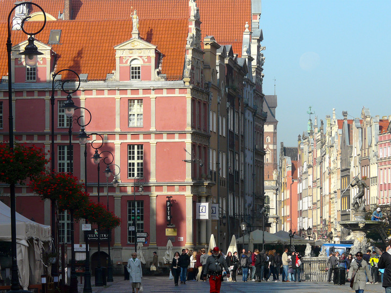 Citizens and tourists on Long Market Street in Old Town, Gdansk, Poland.