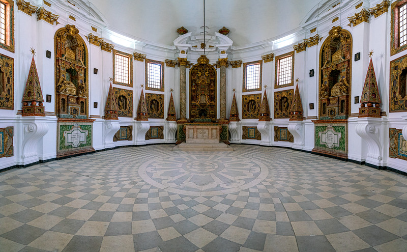 The Sanctuary is an oval-shaped church, a reliquery, that is, a shrine in which relics are kept.