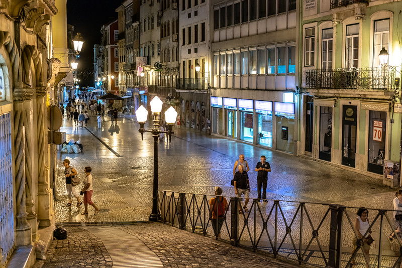 Strolling at night in Coimbra.
