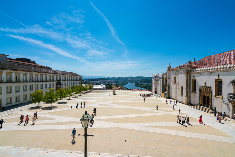 The courtyard of the unisersity looking towards the town and the Mondego River.