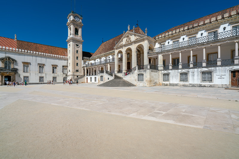 The Tower of the University of Coimbra from the main square or Paço das Escolas.