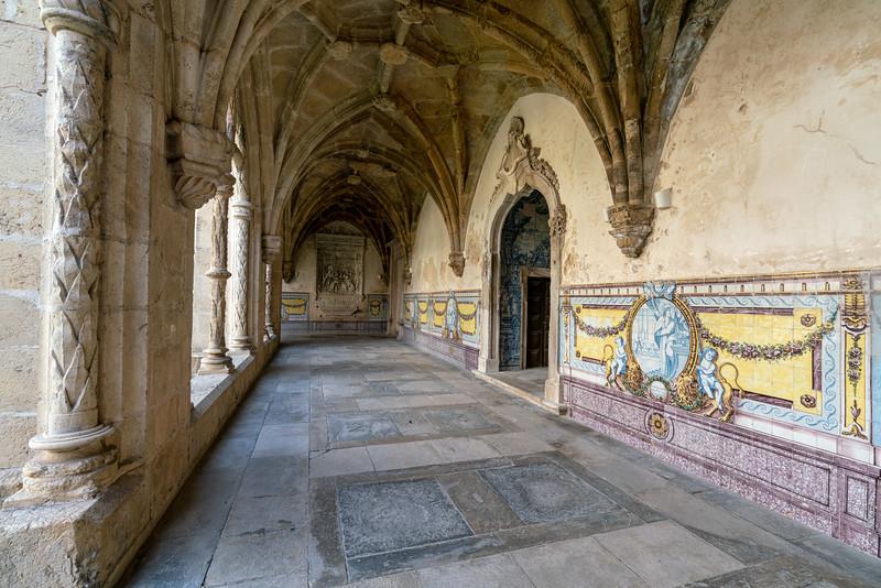 A hallway along the Cloister of Silence at the Mosteiro de Santa Cruz.