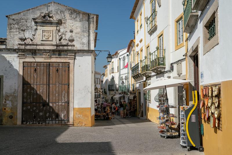 Street with shops Evora.