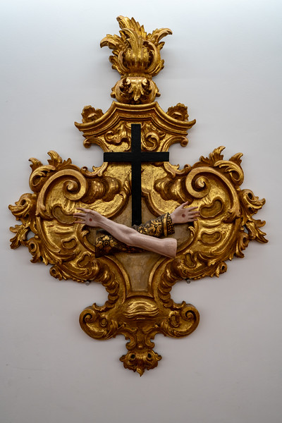 Some ecclesiastical art one display upstaris from the Bone Chapel.