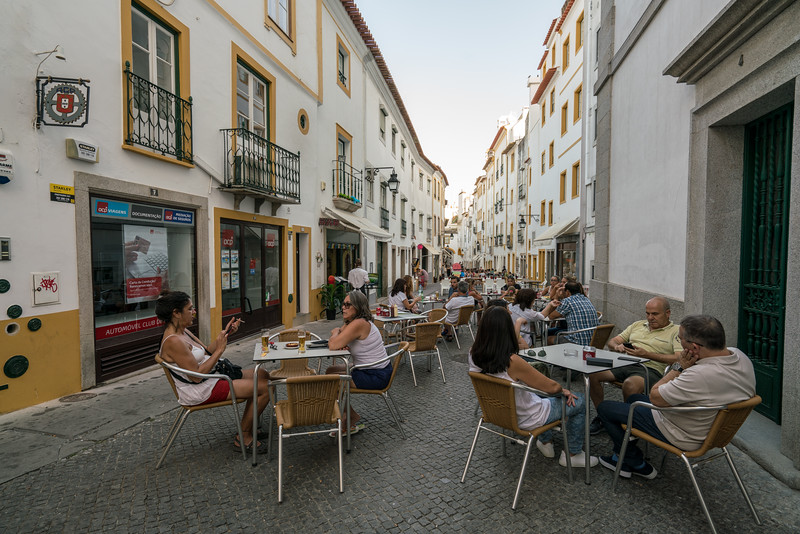 A cafe street in Evora.
