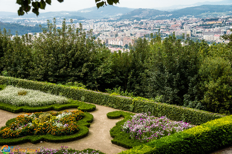 View of Guimarães Portugal from a garden on top of a hill
