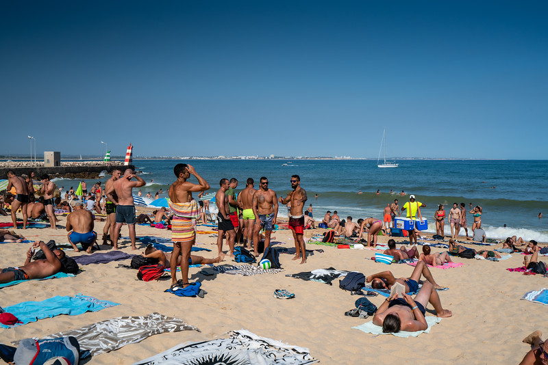 People enjoying Praia da Batata, the closest beach to Lagos town.