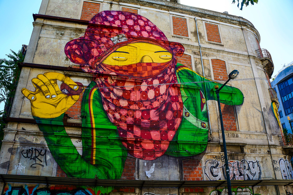 Os Gémeos street art in Lisbon, Portugal