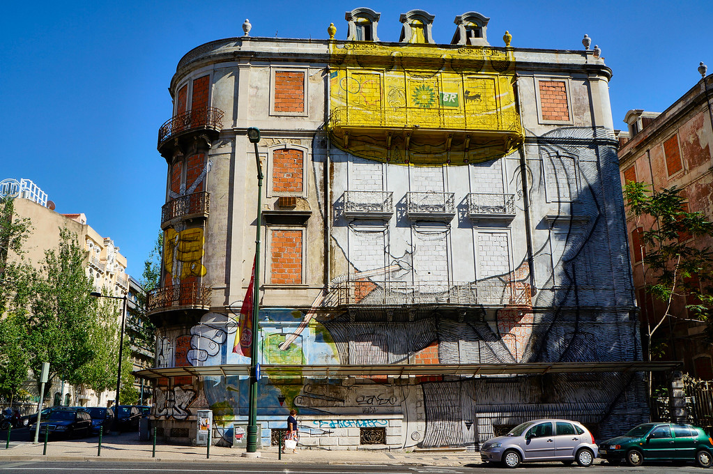 Mural by Blu in Lisbon, Portugal