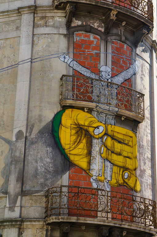 Detail from mural by Os Gémeos in Lisbon, Portugal