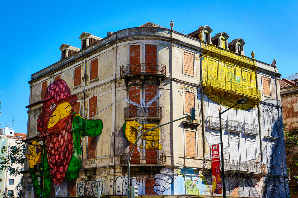 Collaboration between Os Gémeos & Blu in Lisbon, Portugal