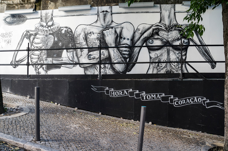 Black and white mural in Lisbon, Portugal