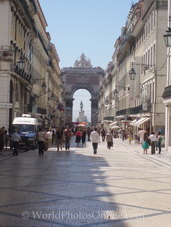 Lisbon - Main Promenade looking toward Arco da Victoria