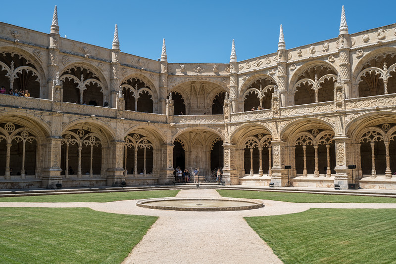 The cloister of Jerónimos Monastery is the covered walkway that surrounds the quadrangle.