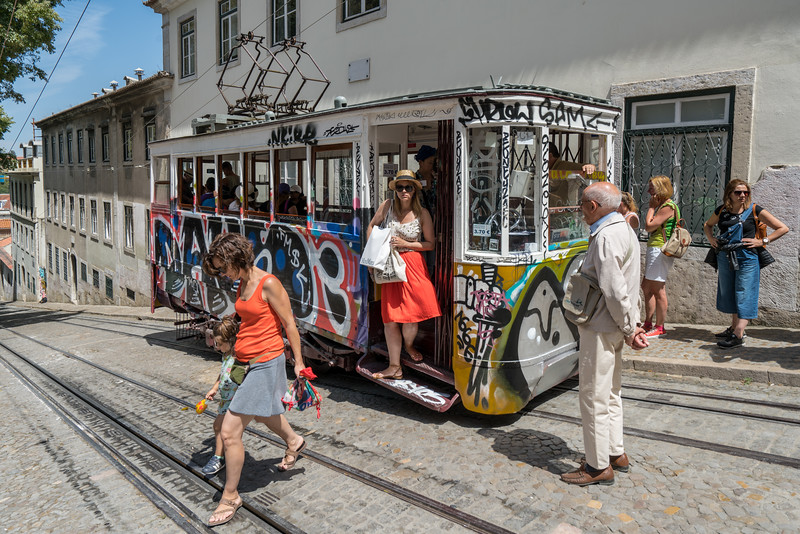 Getting off the Elavador da Gloria in Bairro Alto.