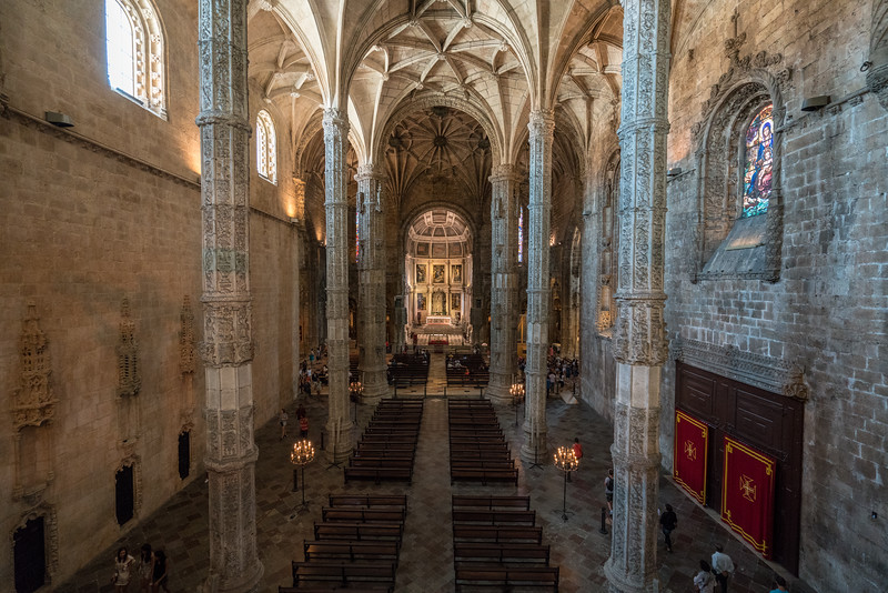 The view from the upper choir area in the church at Jerónimos Monastery.