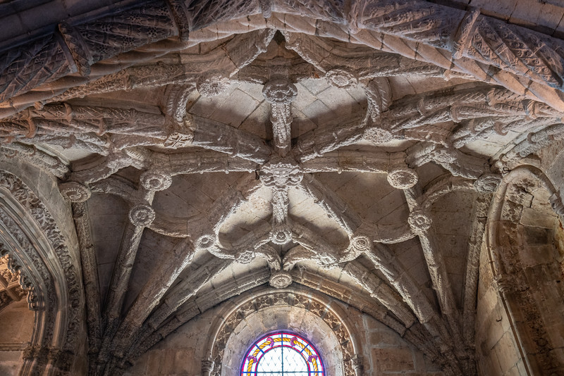 Detail of the celing above the tomb of Vasco da Gama in the church at Jerónimos Monastery.