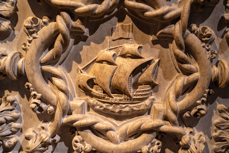 A detail of a caravel on the side of Vasco da Gama's tomb.
