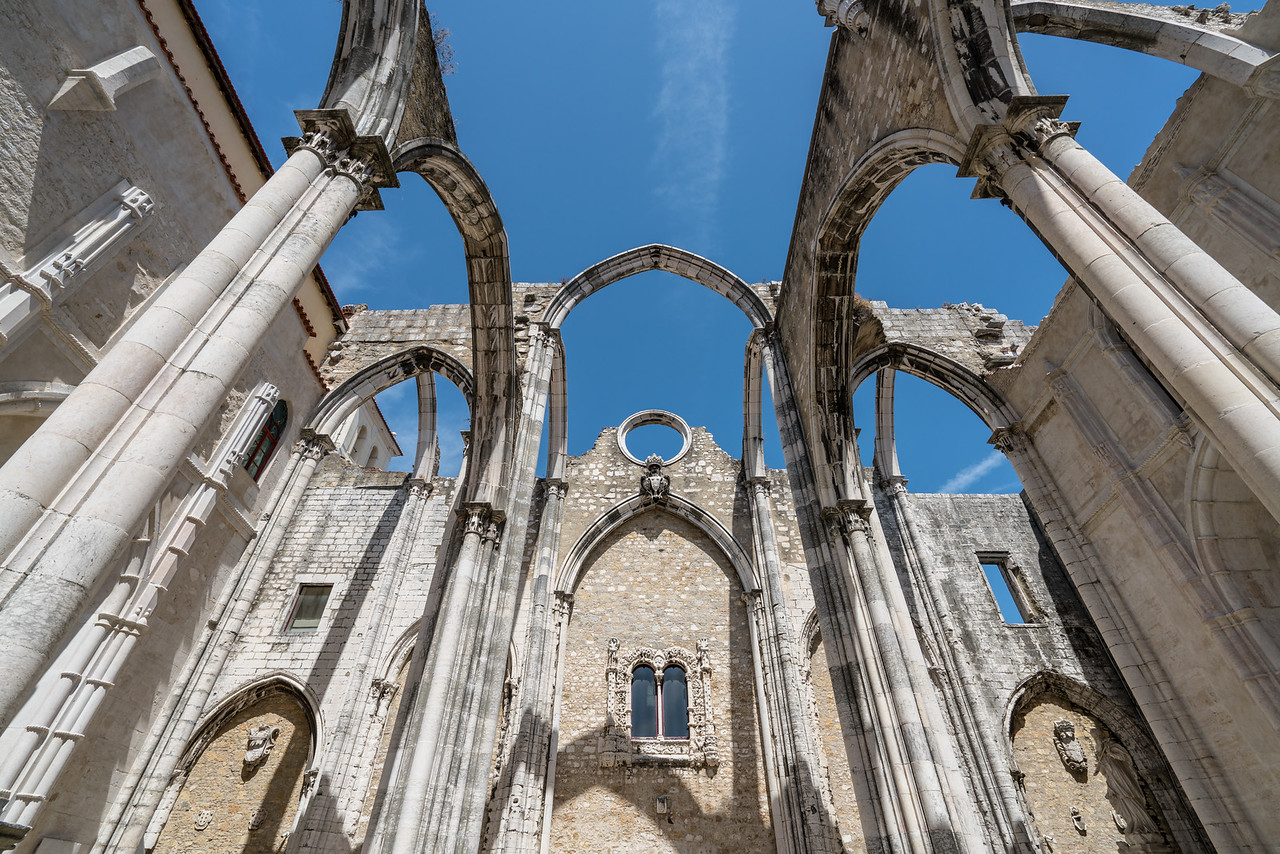 The Gothic arches of the church of the Convento do Carmo are all that survived the earthquake of 1755.