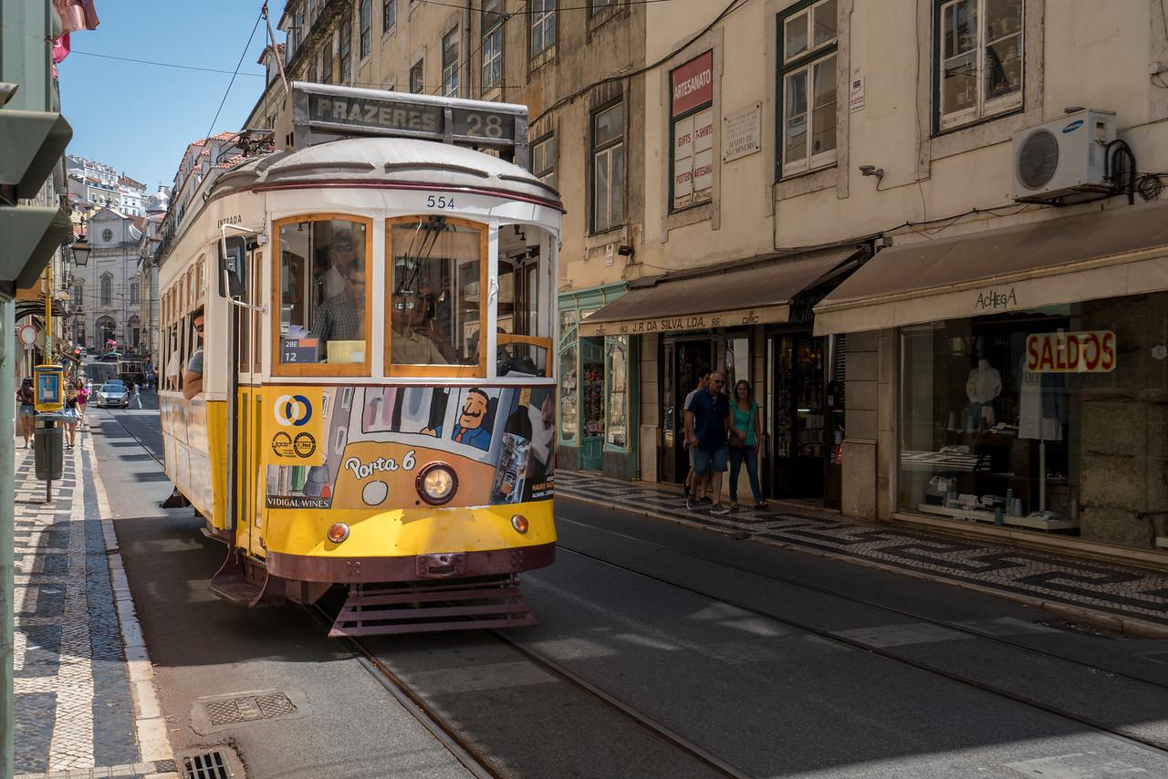 The famous number 28 tram at the Praça do Comércio.
