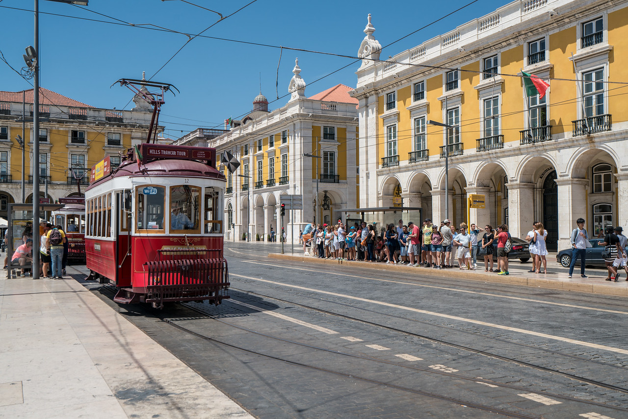 A trolley in the Praça do Comércio.