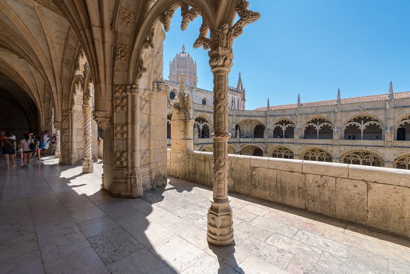 The cloister at Jerónimos Monastery looking toward the church.