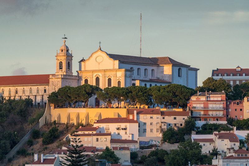 Looking towards the Convento da Graça from my terrace. You can see all the people lined up watching the sunset.