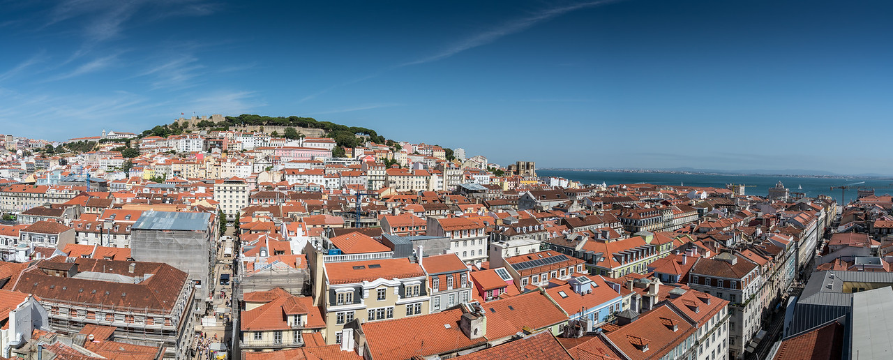 A panorama shot looking over Lisbon toward the São Jorge Castle. I took this from the terrace of my guesthouse in the Chiado neighborhood.