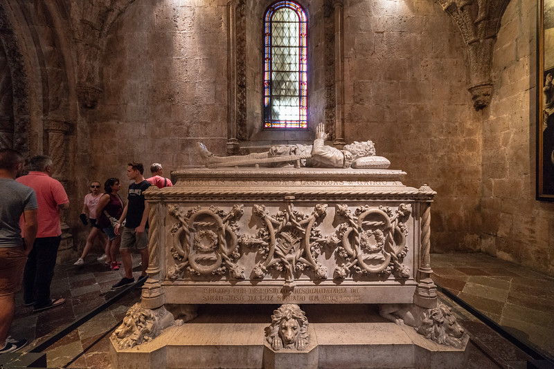 Vasco da Gama rests in this tomb. On the night of July 7, 1497, in a small chapel that once stood on this spot da Gama prayed for a safe voyage. He arrive home in September 1499 to a hero's welcome.