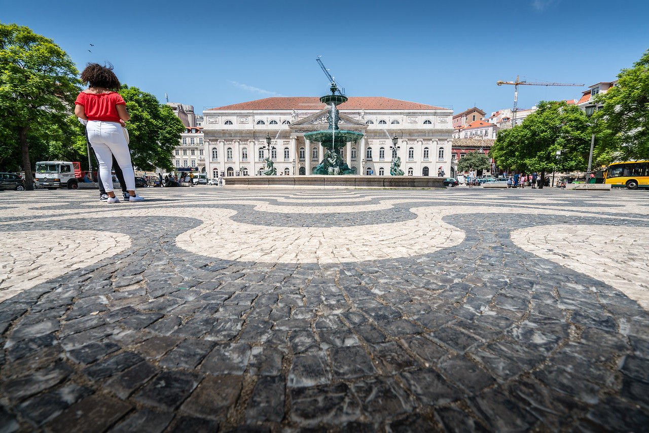 Praca Rossio with the National Theater beyond.