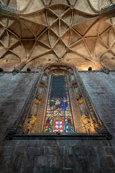 Stained glass and celing detail in the church at Jerónimos Monastery.