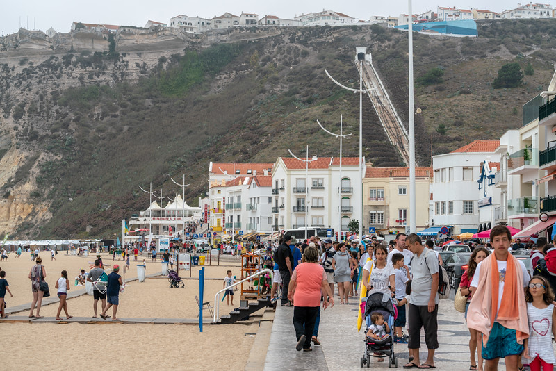 The main promenade in Nazare.
