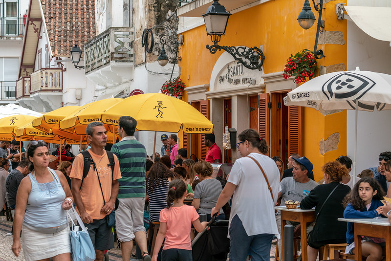 A busy street scene in Nazare. It seems that most of the people here are from the region. It's quite a different scene than the jet-set crowd on the Algarve.
