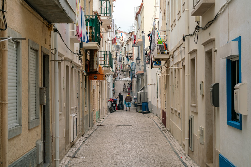 Wandering on a typical street in Nazare.